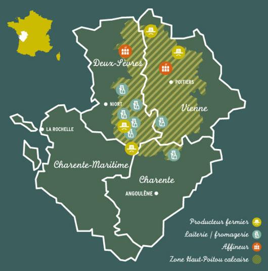 Savoir-faire - Zone géographique - Chabichou du Poitou - Atelier de la Sèvre