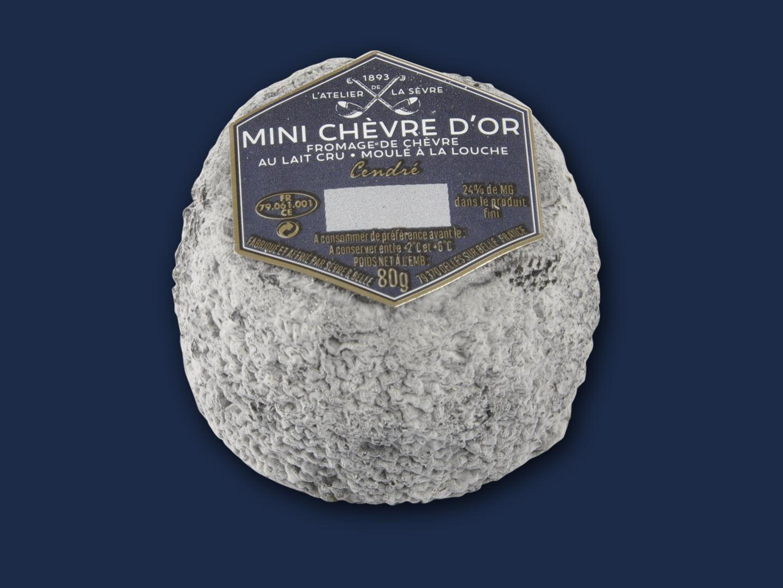 Le mini Chèvre d'or cendré 80g - fromage de chèvre au lait cru - moulé à la louche - Atelier de la sèvre